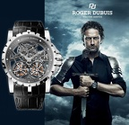 Gerard Butler wearing ROGER DUBUIS Excalibur Skeleton Double Flying Tourbillon